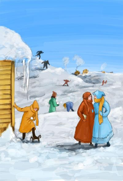 冬天森林里动物们圣诞装饰图片