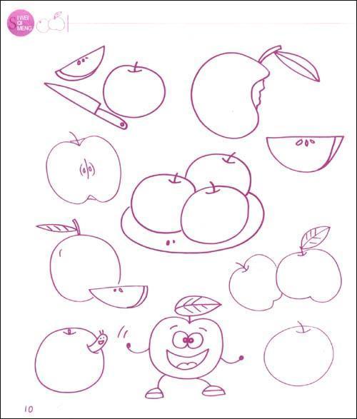 思维启蒙简笔画图典   水果蔬菜 苹果 橘子 樱桃 西瓜 香蕉 梨 水果