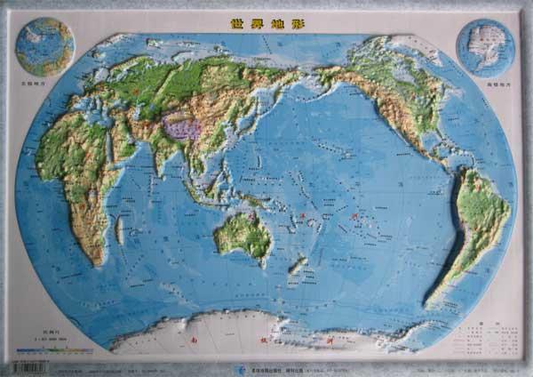 世界地形图 四开,世界地图