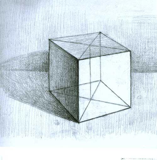 信息中心 第2讲 几何体透视(下)   素描几何体长方形平面透视近大远小图片