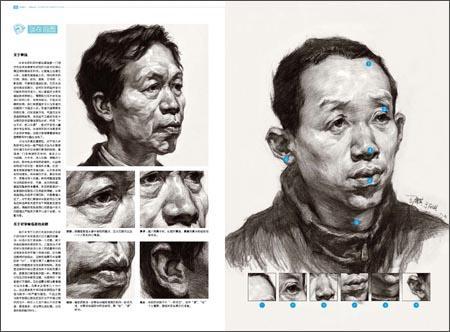 使用的头像素描技法辅导书,分步骤和五官以及不同的角度对头像结构,体