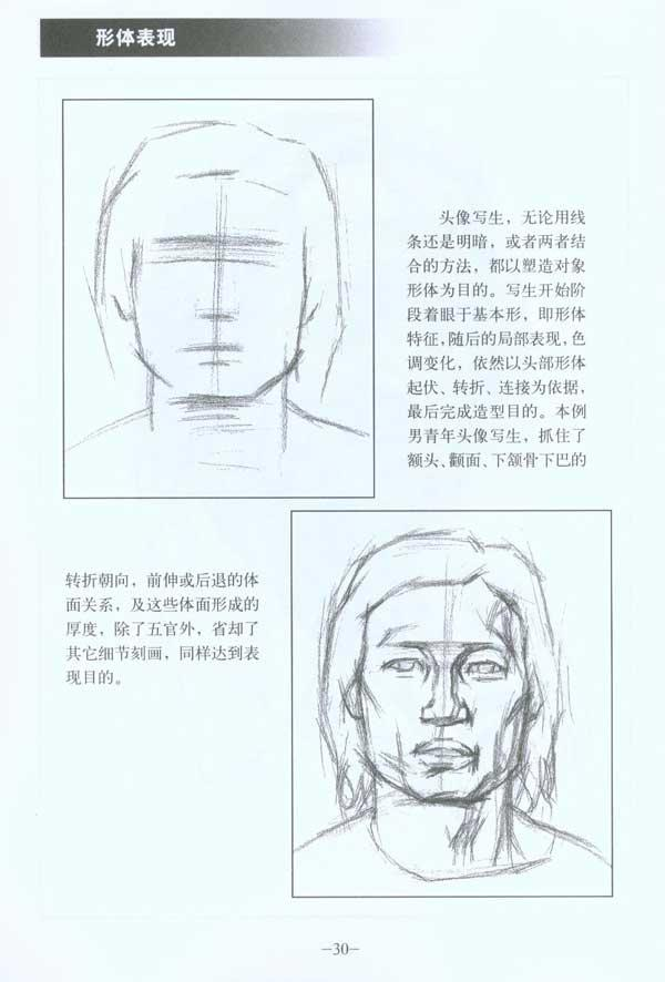 古代素描脸型的画法步骤图