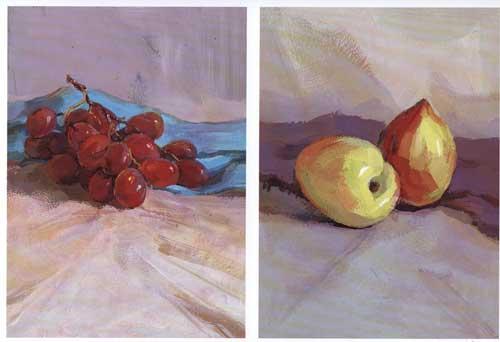 书摘插图; 水彩静物范本8; 色彩静物 1 单个训练范本 李青 正版 美术