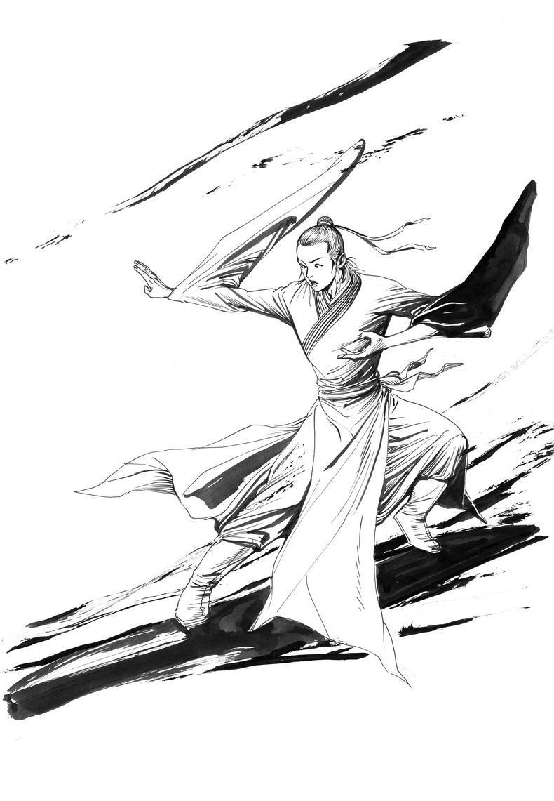 手绘武侠黑白图片