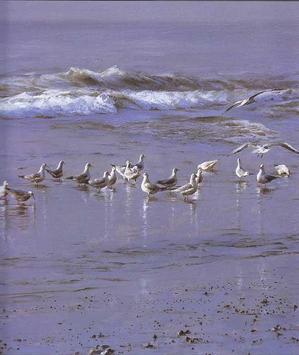 > 蓝色的爱·于普洁海景油画 免运费   于普洁,男,1943年生于青岛,18