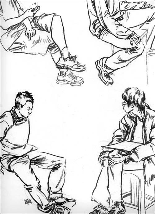 国外人像手绘插图